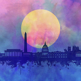 Bekim Art - washington dc skyline watercolor 4