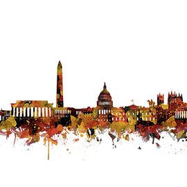 Bekim Art - washington dc skyline watercolor orange