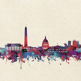 Bekim Art - washington dc skyline watercolor purple