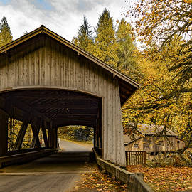 Washington State Covered Bridge and Grist mill in Autumn  by Jean Noren