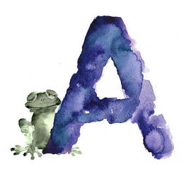 Watercolor alphabet A frog painting by Joanna Szmerdt