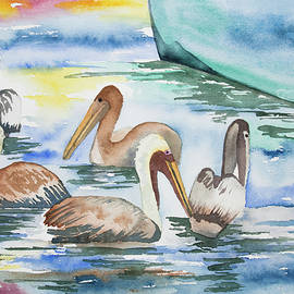 Cascade Colors - Watercolor - Brown Pelican Group and Boat