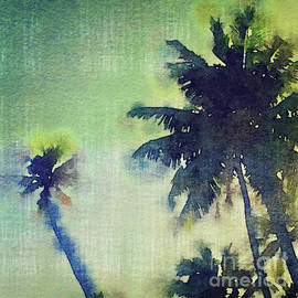 Watercolor Coconut Tree Tropical Vintage Palm  by Beverly Claire Kaiya