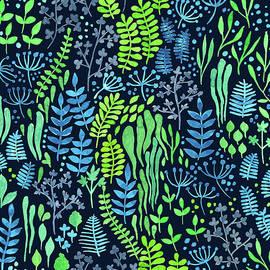 Watercolor floral doodles dark background by Katerina Kirilova