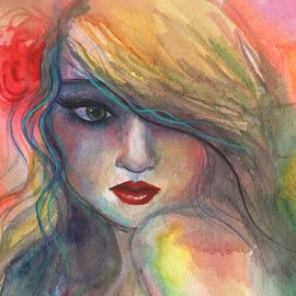 Watercolor Girl Portrait With Flower by Svetlana Novikova