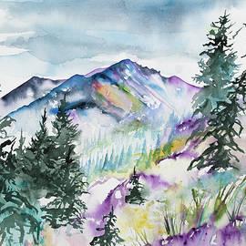 Watercolor - Long's Peak Summer Landscape by Cascade Colors