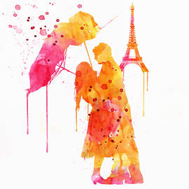 Watercolor Love Couple in Paris by Marian Voicu