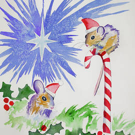 Watercolor - Merry Christmas Mice by Cascade Colors