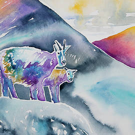 Cascade Colors - Watercolor - Mountain Goat Parent with Young