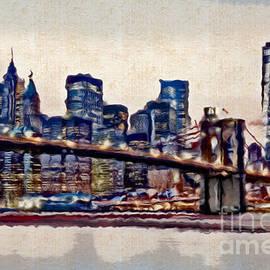 Doc Braham - Watercolor of Manhattan Skyline - Doc Braham - All Rights Reserved