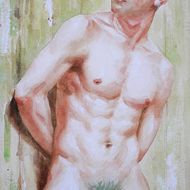 Hongtao Huang - Watercolor Painting Asian Male Nude Man On Paper#16-12-15