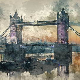 Matthew Gibson - Watercolor painting of Stunning Autumn Fall sunrise over Tower Bridge and River Thames in London.