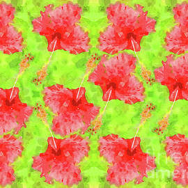 Watercolor Red Hibiscus Tropical Aloha Botanical by Beverly Claire Kaiya