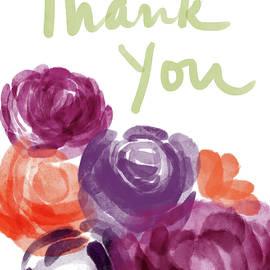 Watercolor Roses Thank You- Art by Linda Woods - Linda Woods