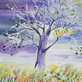 Cascade Colors - Watercolor - Whimsical Tree and Meadow