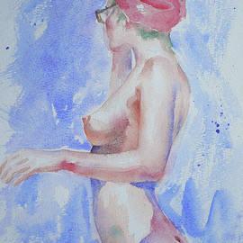 Hongtao Huang - Watercolour Painting Female Nude Girl #17331