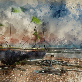 Matthew Gibson - Watercolour painting of Landscape image of small fishing boats o