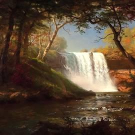 The Minnehaha Waterfalls Landscape Scene After Albert Bierstadt  L A S by Gert J Rheeders