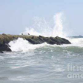 Waves Crashing Onto Long Beach Jetty by John Telfer