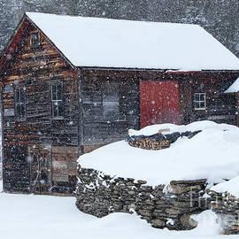 Weathered Barn Snowfall by Alan L Graham