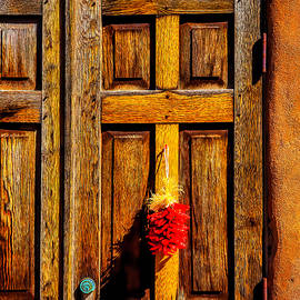 Weathered Door With Chillies - Garry Gay