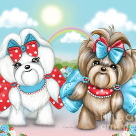 Welcome Spring Maltese And Yorkie by Catia Lee