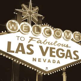 Gregory Ballos - Welcome to Las Vegas Neon Sign in Sepia - Nevada USA