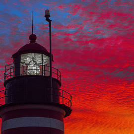 West Quoddy Head Lighthouse with Fiery Sky by Marty Saccone