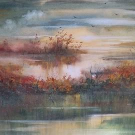 David K Myers - Wetland Reflections Watercolor