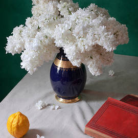 Nikolay Panov - White Lilacs in Blue Vase