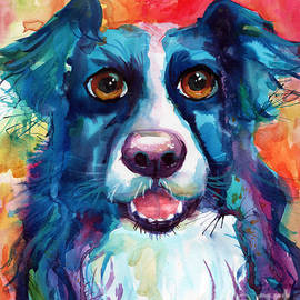 Svetlana Novikova - Whimsical Border Collie dog portrait
