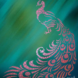 Whimsical Pink Peacock Against Teal Background