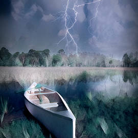 Debra and Dave Vanderlaan - White Canoe in the Evening Lightning Storm Dramatic Oil Painting