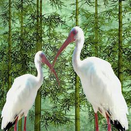 KaFra Art - White Cranes and Bamboo