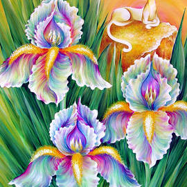 White irises and Queen Cat by Sofia Metal Queen
