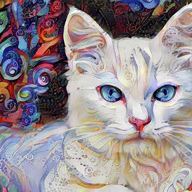 White Kitten with Blue Eyes by Peggy Collins