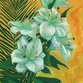 Julia Khoroshikh - White Lilies and Palm Leaf