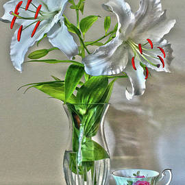 White Lily, Shell, and Tea Cup Still Life by Nina Silver