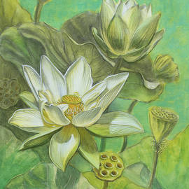Fiona Craig - White Lotuses in Turquoise Lake