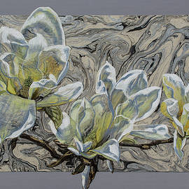 Fiona Craig - White Magnolias on Marbled Paper