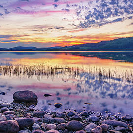 White night sunset on a Swedish lake by Dmytro Korol