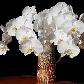 Yuri Tomashevi - White Orchid Bouquet in Vase