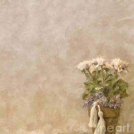White Roses In Old Clay Pot by Lois Bryan