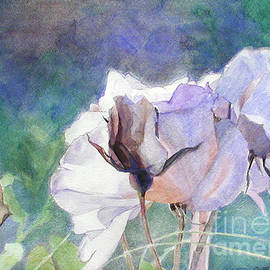 White Roses In Shade On Blue Field by Greta Corens