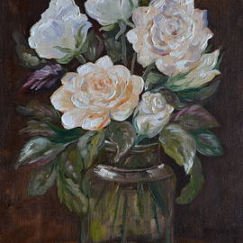 M B - White Roses In The Glass Jar