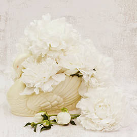 White Swan Filled With Peonies  by Sandra Foster