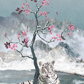 White Tiger And Plum Tree by M Spadecaller