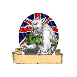 Aloysius Patrimonio - White Wolf Holding Bomb British Flag Tattoo