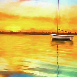 White Boat Watercolor Painting by Debra and Dave Vanderlaan