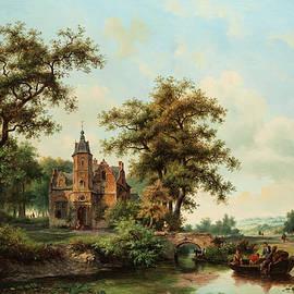 Wide landscape with river - Frederik Marianus Kruseman